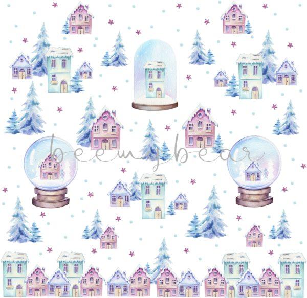 Designpapier Snow Globes
