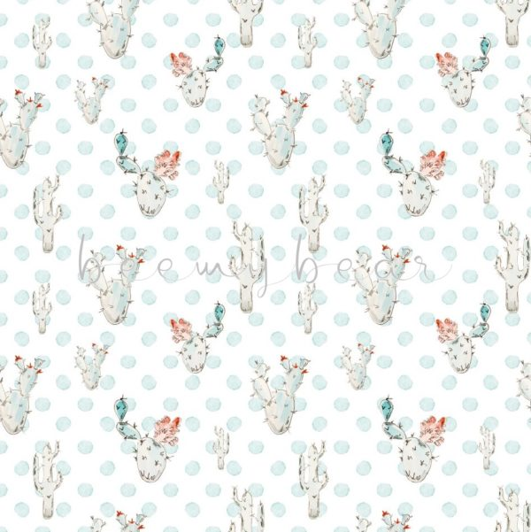 Designpapier Blue Cactus