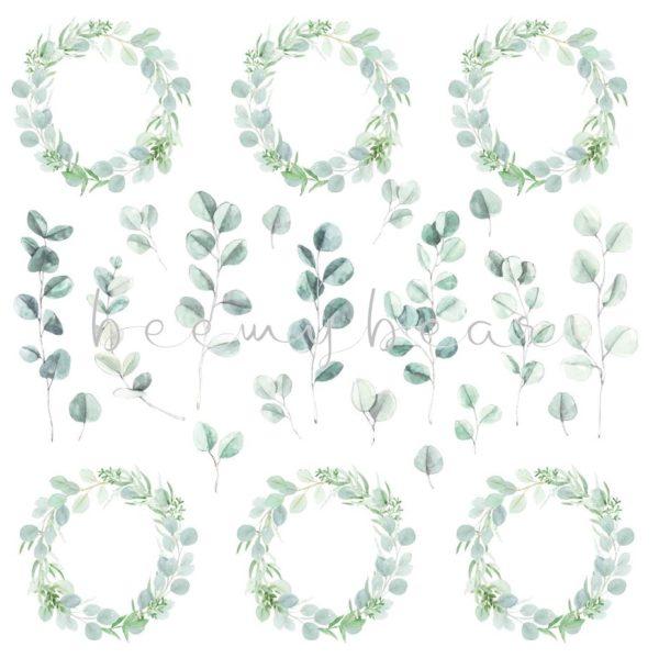 Designpapier Ausschneidbogen Eukalyptus